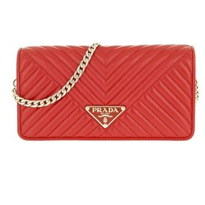 Prada Mini Crossbody Bag Quilted Leather Red